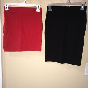 Forever 21 Black and Red Bodycon Skirts!